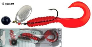 Блесна Mepps AGLIA SPINFLEX SILVER RED серебро, красный твистер 17 гр.