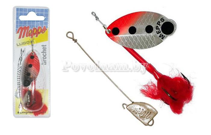 Блесна Mepps LUSOX FLUO SILVER, FLUO RED красная, серебрянный фон