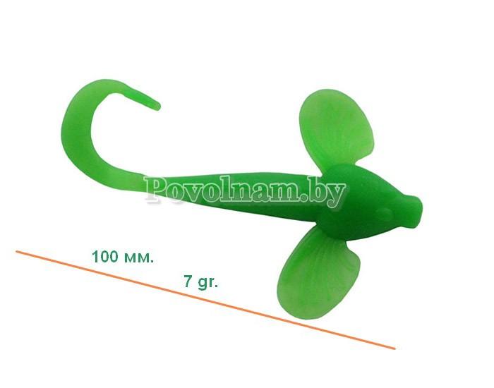 Бычок-твистер 100мм. 7гр. Цвет JB_013(Зелен.)