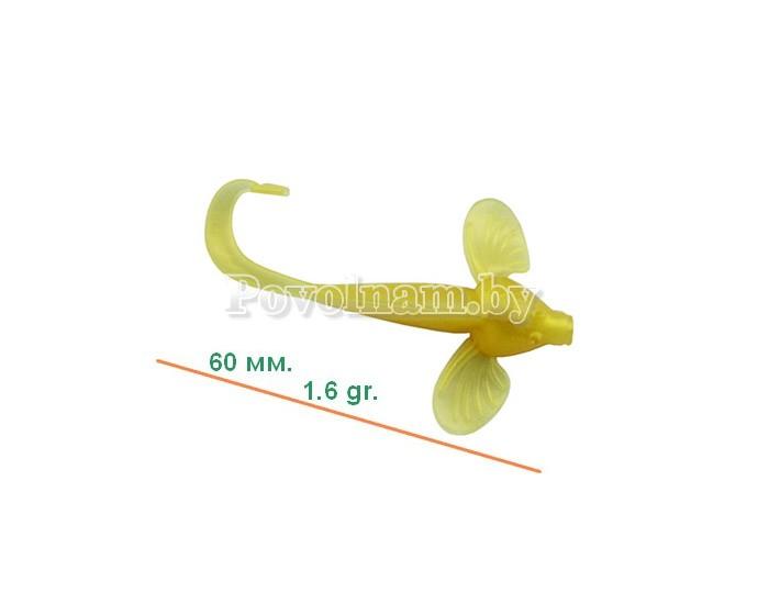 Бычок-твистер 60мм. 1.6гр. Цвет JB 016(Перл. голд)