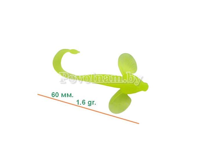 Бычок-твистер 60мм. 1,6гр. Цвет JB 012(Лимон)