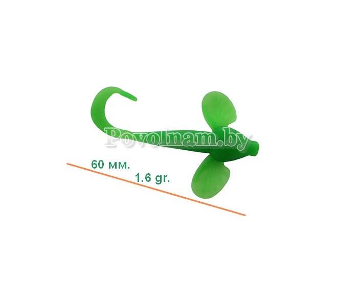 Бычок-твистер 60мм. 1,6гр. Цвет JB 013(Зелен.)