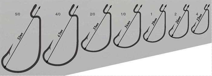Крючки OFFSET WORM HOOK с размерами