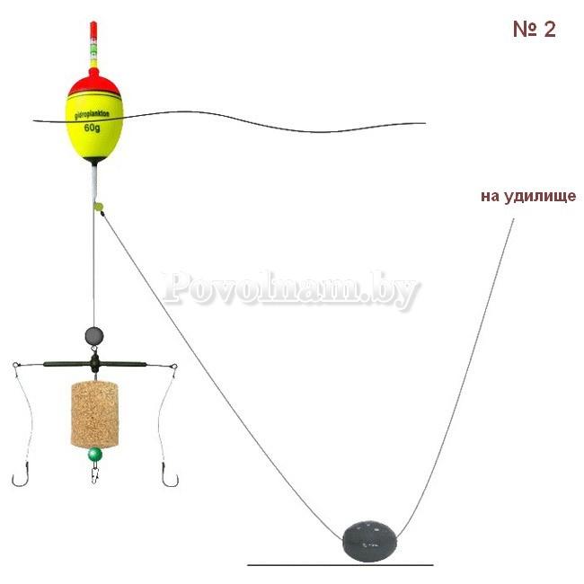 Монтаж на толстолобика №2, EVA-поплавок 60г, оснастка Т-образная