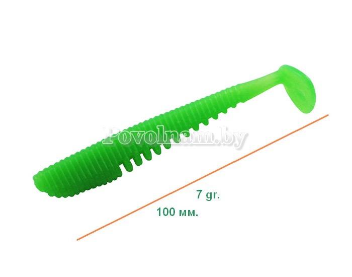 Рыбка виброхвост 100мм. 7гр. Цвет AW 013(Зелен.)